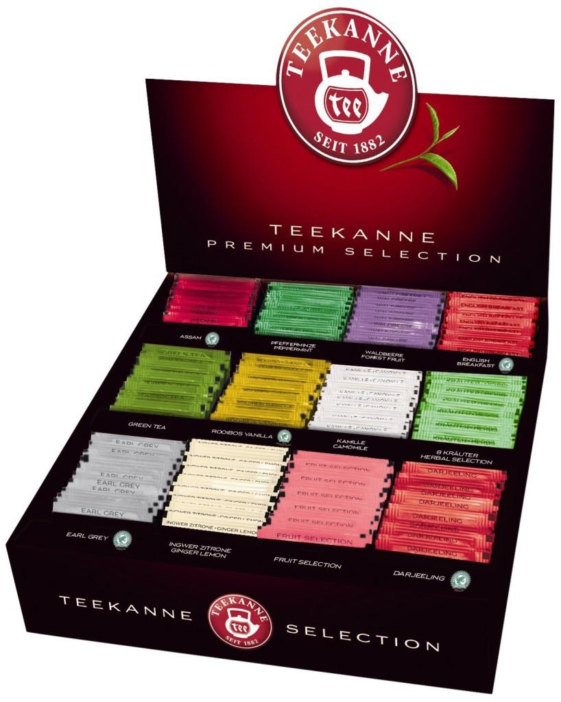 Verschiedene Teesorten von Teekanne in einer Box